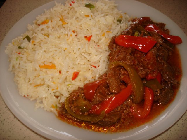 Chinese Rice with Beef Pepper Steak