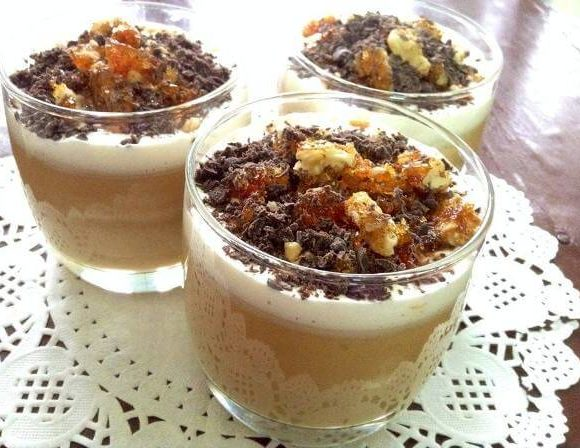 Easy Toffee Custard With Walnut Praline