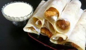Crispy Chicken Roll Paratha Recipe with Mayo Garlic Dip