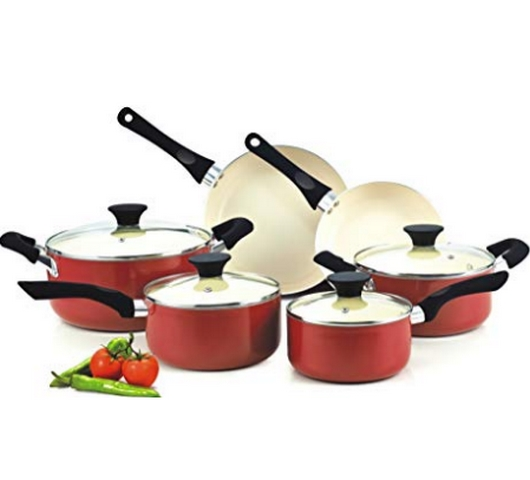 Cook N Home NC-00359 Nonstick Ceramic Coating 10-Piece Cookware